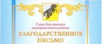 Благодарность «КасМП» от Администрации Каслинского муниципального района
